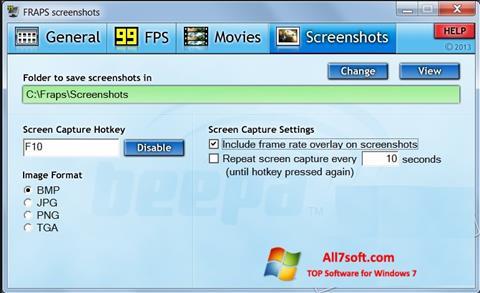 截图 Fraps Windows 7
