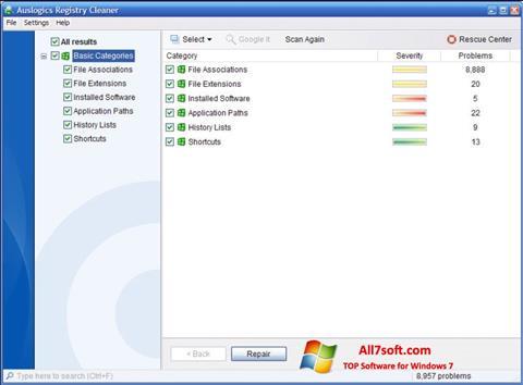 截图 Auslogics Registry Cleaner Windows 7