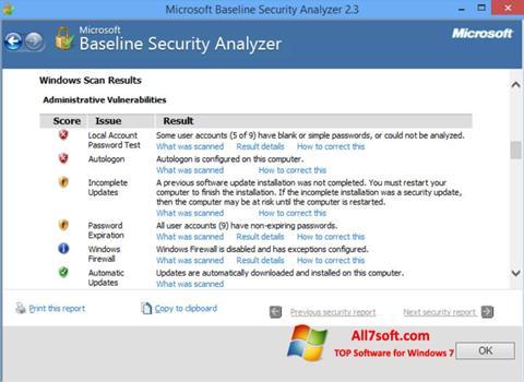 截图 Microsoft Baseline Security Analyzer Windows 7