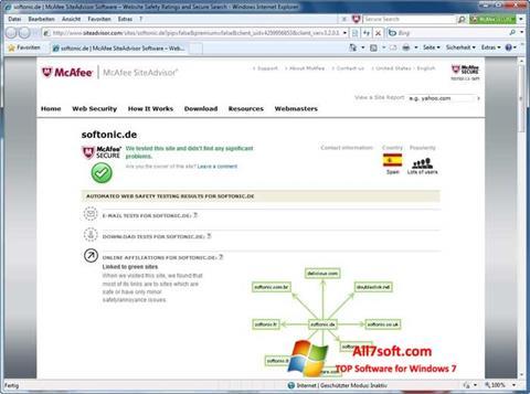 截图 McAfee SiteAdvisor Windows 7