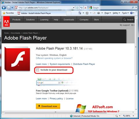 截图 Adobe Flash Player Windows 7