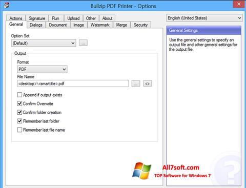 截图 BullZip PDF Printer Windows 7